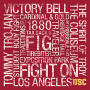 Hall Posters - USC College Colors Subway Art Poster by Replay Photos