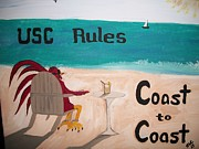 Beach Scenes Drawings Posters - USC Rules Poster by Sherry Cordle