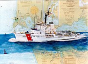 Map Art Painting Posters - USCG Alert Coast Guard Chart Map Art Peek Poster by Cathy Peek