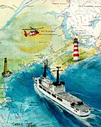 Lighthouses Paintings - USCG Chase Helicopter Chart Map Art Peek by Cathy Peek