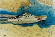 Chart Paintings - USCG Cuttyhunk Nautical Chart Art Peek by Cathy Peek
