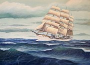 Tall Ships. Marine Art Paintings - USCG Danmark by William H RaVell III