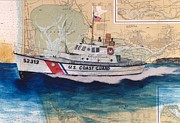 Chart Paintings - USCG Lifeboat Invincible WA Chart Map Art Peek by Cathy Peek