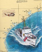 Chart Paintings - USCG Reliance Helicopter TX Nautical Chart Art Peek by Cathy Peek