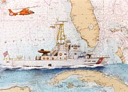Uscg Prints - USCG Sapelo Helicopter FL Nautical Chart Map Art Peek Print by Cathy Peek