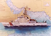 Uscg Posters - USCG Wrangell Nautical Chart Map Art Cathy Peek Poster by Cathy Peek