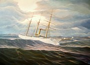 Tall Ships. Marine Art Paintings - USCGC Alexander Hamilton by William H RaVell III