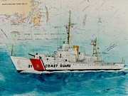 Map Art Painting Posters - USCGC Bibb Nautical Chart Map Art Peek Poster by Cathy Peek