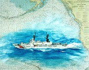 Map Art Painting Posters - USCGC Sherman Nautical Chart Map Art Peek Poster by Cathy Peek