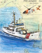 Chart Painting Posters - USCGC Storis Coast Guard Nautical Chart Map Art Poster by Cathy Peek