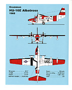 Plane Drawings Prints - U.S.Coast Guard Gruman HU-16E Albatross Print by Jerry McElroy