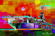 Officer Mixed Media Prints - USS Aircraft Carrier Dwight D Eisenhower  Print by Arco Montufar