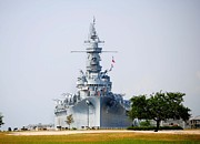Alabama Posters - USS Alabama Front View Poster by Michael Thomas