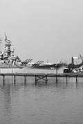 Downtown Digital Art Originals - USS Alabama Side BW by Michael Thomas