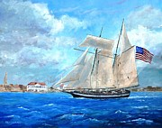 Old Glory Paintings - USS Carolina Departing Charleston by Keith Wilkie