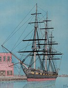 Baltimore Drawings Metal Prints - USS Constellation Metal Print by Calvert Koerber