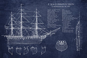 Blueprint Framed Prints - U.S.S. Constitution blueprint  Framed Print by Sara Harris