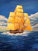 Masted Ship Paintings - USS Constitution by Roy J Moyle