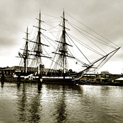 Old Ironsides Prints - USS Constitution sepia tone Print by Linda Ryan