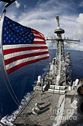 Patriotism Prints - Uss Cowpens As Seen From The Top Print by Stocktrek Images