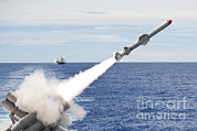 Harpoon Framed Prints - Uss Cowpens Launches A Harpoon Missile Framed Print by Stocktrek Images