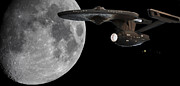 Captain Kirk Posters - USS Enterprise with the Moon and Jupiter Poster by Jason Politte