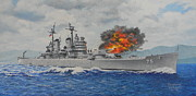 Korean War Paintings - USS Helena by Duwayne Williams
