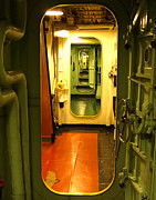 Linoleum Photo Posters - USS Hornet Passageway Poster by Anne Mott