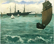 Sailing Ships Prints - USS Kearsarge off Boulogne Fishing Boat Coming in before the wind Print by Edouard Manet