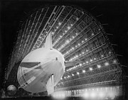 Mountain View Posters - USS Macon In Hangar One Poster by Underwood Archives