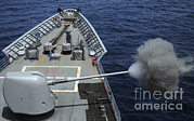 Uss Philippine Sea Fires Its Mk 45 Print by Stocktrek Images