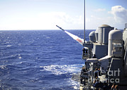 Guided Missiles Framed Prints - Uss Princeton Launches A Harpoon Framed Print by Stocktrek Images