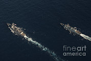 Halifax Photography Prints - Uss Stockdale And The Canadian Frigate Print by Stocktrek Images