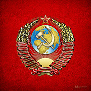 Soviet Union Digital Art - USSR Coat of Arms  by Serge Averbukh