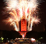 Ut Prints - UT Tower 2013 Fireworks Print by Andrew Nourse