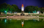 Burnt-orange Prints - UT Tower Regular Season Win Reflection Print by Preston Broadfoot