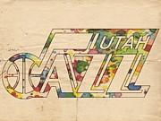 Utah Jazz Retro Poster Print by Florian Rodarte