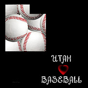 Abstract Map Posters - Utah Loves Baseball Poster by Andee Photography