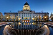 Reflecting Art - Utah State Capitol in Reflecting Fountain at Dusk by Gary Whitton