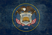 Utah Digital Art Prints - Utah State Flag vintage version Print by Bruce Stanfield