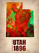 Map Art Digital Art Prints - Utah Watercolor Map Print by Irina  March