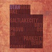 Lake Mixed Media Metal Prints - Utah Word Art State Map on Canvas Metal Print by Design Turnpike