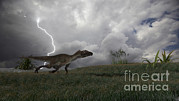 Running Digital Art - Utahraptor Running Across An Open Field by Kostyantyn Ivanyshen