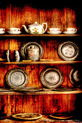 Shelves Photo Prints - Utensils - In the Cupboard Print by Mike Savad
