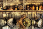 Sepia Photo Posters - Utensils - Old country kitchen Poster by Mike Savad