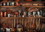 Shelves Photo Prints - Utensils - What I found in a cabinet Print by Mike Savad