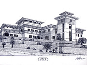 Famous University Buildings Drawings Art - Utep by Frederic Kohli