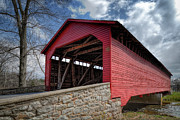 Frederick Posters - Utica Mills Covered Bridge Poster by Joan Carroll