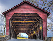 Old Mills Photos - Utica Mills Covered Bridge by Larry Helms