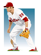 Pro Baseball Posters - Utley In The Ready Poster by Scott Weigner